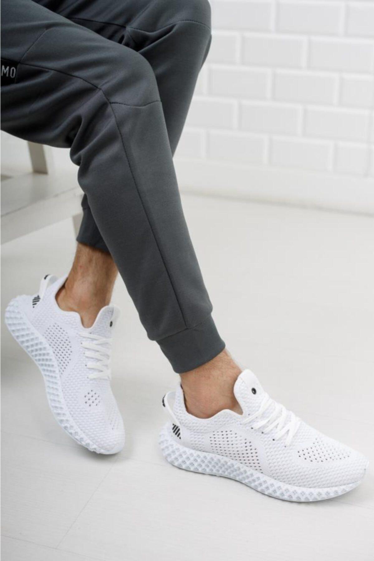 Erkek Beyaz Triko Sneaker Spor Ayakkabı 1020