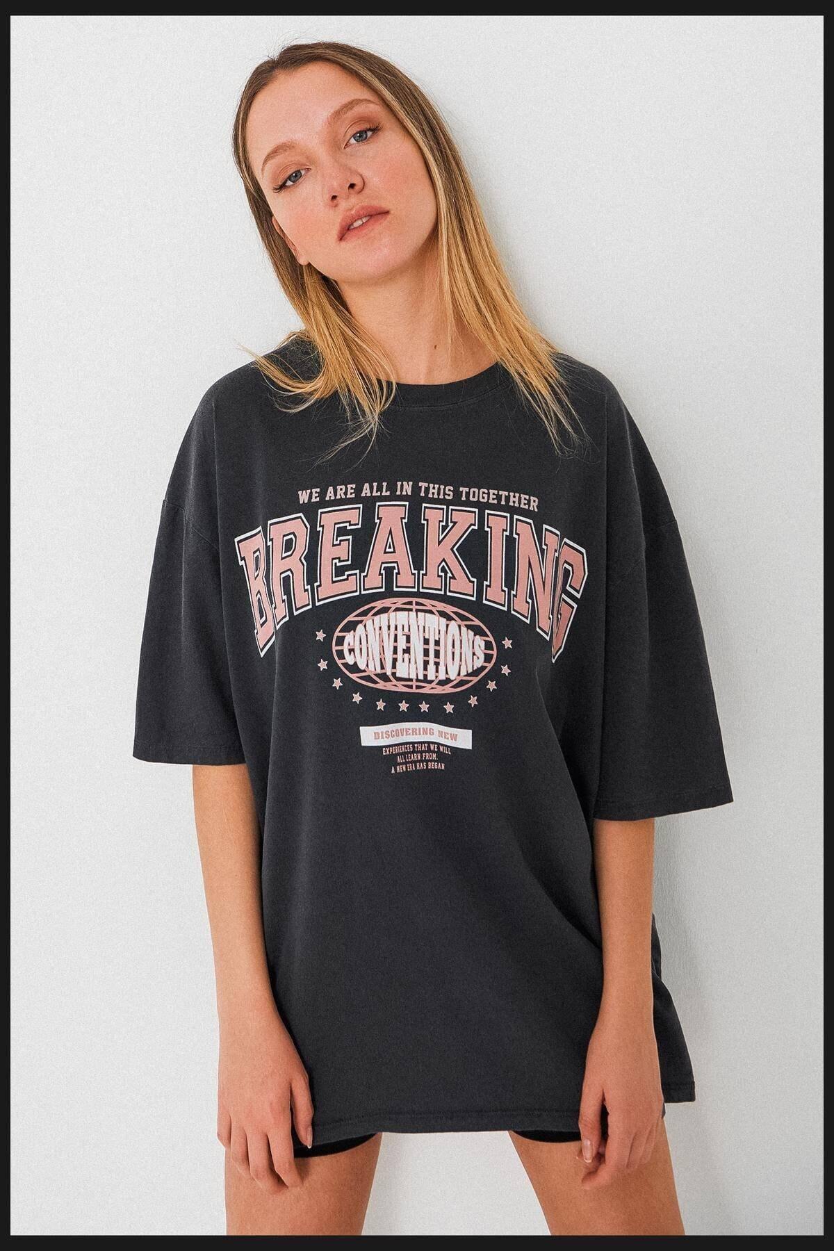 Baskılı Oversize T-shirt P9555 - G4
