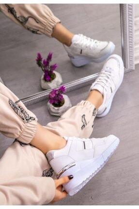 Espardile Kadın Beyaz  Dux Cilt Bağcıklı Spor Ayakkabı 2