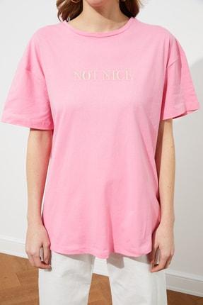 TRENDYOLMİLLA Pembe Nakışlı Boyfriend Örme T-Shirt TWOSS20TS0228 3