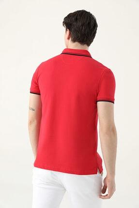 D'S Damat Ds Damat Slim Fit Kırmızı Pike Dokulu T-shirt 3