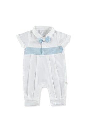 Erkek Bebek Mavi Papyonlu Pamuk Kısa Kol Reçme Polo Yaka Tek Tulum resmi