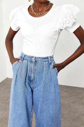 Xena Kadın Beyaz Kolları Güpürlü T-Shirt 1KZK2-11588-01 1