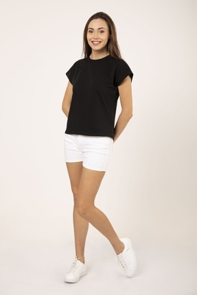 MD trend Kadın Siyah Pamuklu Kısa Kollu Basic T-shirt 2