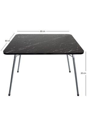 Bofigo 60x80 Granit Desenli Katlanır Masa Balkon Bahçe Kamp Masası Piknik Masası 1