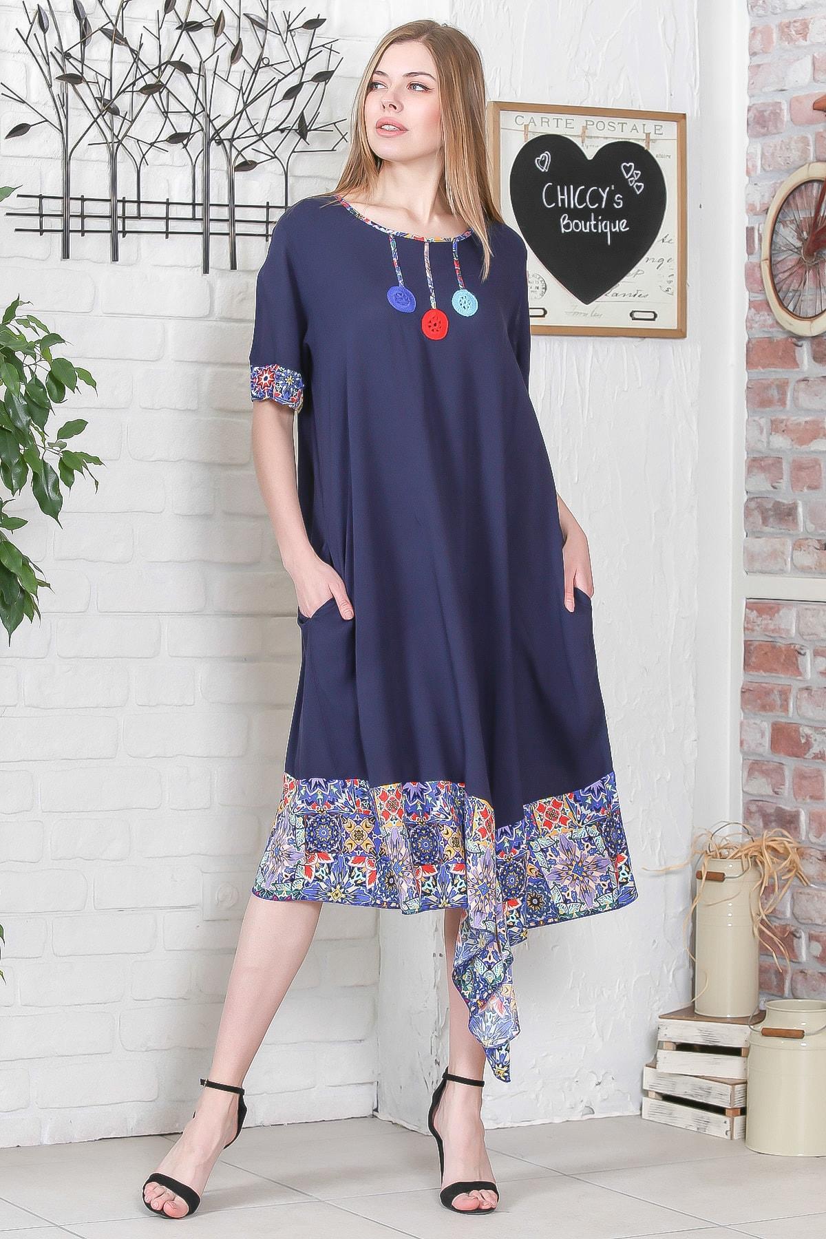 Chiccy Kadın Lacivert El İşi Çiçek İşlemeli Kol Ve Etek Ucu Çini Desen Bloklu Cepli Elbise M10160000EL95276 1
