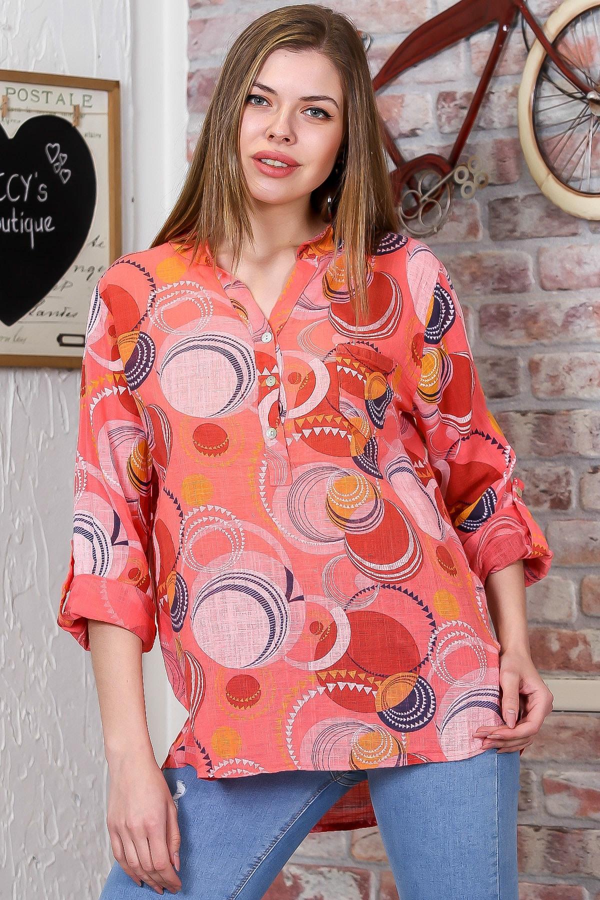 Chiccy Kadın Turuncu İtalyan Geometrik Desenli Patı Düğme Detaylı 3/4 Kol Ayarlı Bluz M10010200BL95498 1