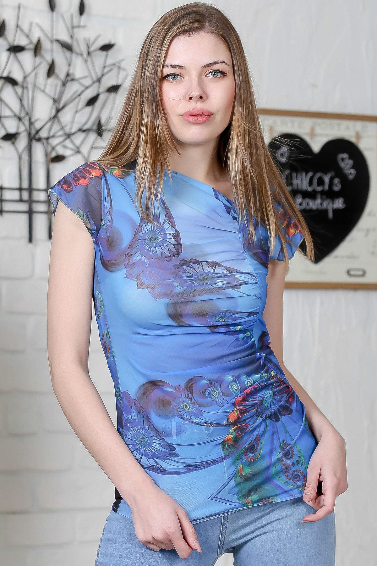 Chiccy Kadın Mavi Asimetrik Yaka Yanı Büzgü Detaylı Bluz M10010200BL95514 0