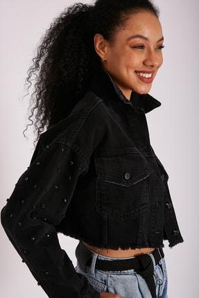 Kadın Kollar Swarovski Detaylı Jean Ceket JS8030