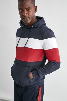 TRENDYOL MAN Lacivert Erkek Slim Fit Kapüşonlu Panelli Kanguru Cepli Sweatshirt TMNAW20SW0284 3