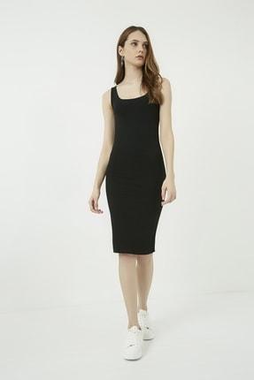 Vis a Vis Kadın Siyah Ön Arka U Yaka Midi Kaşkorse Elbise STN723KEL163 4