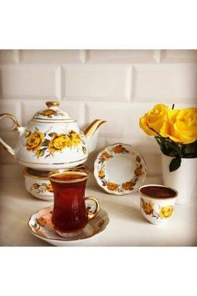 Beyaz Çay Kahve Takımı Yellow Rose 20 Parça Çay & Kahve Seti elitonlineçaykahvesetiyellow