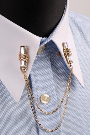 La Pescara Taşlı Zincirli Altın Renk Gömlek Yaka İğnesi GI027 1