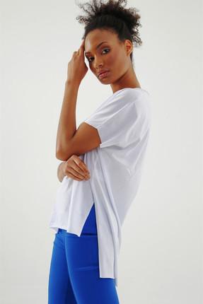 Jument Kadın Beyaz Süprem V Yaka Yırtmaçlı Bluz 7006 1