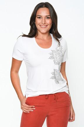 Kadın Beyaz Önü Taş Baskılı Bluz 2164 resmi