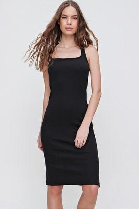 Trend Alaçatı Stili Kadın Siyah Sırtı Çapraz Bantlı Fitilli Elbise ALC-X6166 1