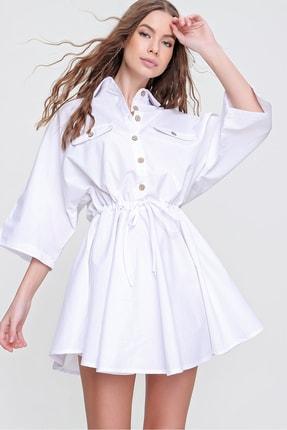 Trend Alaçatı Stili Kadın Beyaz Safari Dokuma Gömlek Elbise ALC-X6196 0