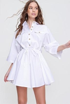Trend Alaçatı Stili Kadın Beyaz Safari Dokuma Gömlek Elbise ALC-X6196 1
