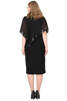 Angelino Kadın Siyah Payetli Uzun Abiye Elbise KL8022K 2