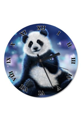 50 Cm Çap Kelebekli Panda Şekilli Duvar Saati saat-659-50