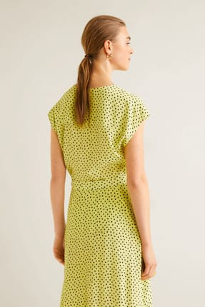 Mango Kadın Çim Rengi Puantiyeli Bluz 41015830 2