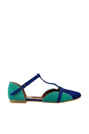 Fox Shoes Saks Mavi Su Yeşili Kadın Ayakkabı B726881802 1