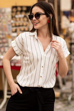 armonika Kadın Füme Keten Çizgili Kısa Kol Gömlek ARM-19Y001067 0