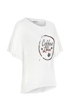 Tchibo Beyaz Coffee Love Volan Kollu Kadın Tişört 101984 4