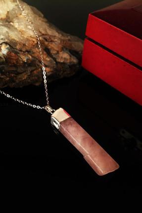 Dr. Stone Kadın Doğaltaş Pembe Kuvars Gümüş Kaplama Kolye Krb232 0