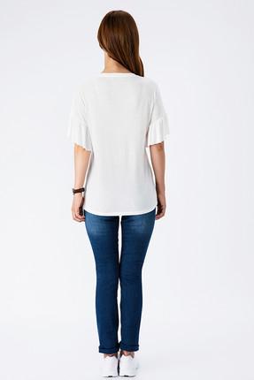 Tchibo Beyaz Coffee Love Volan Kollu Kadın Tişört 101984 2