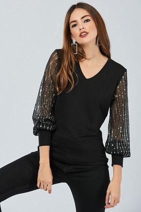 Cool & Sexy Kadın Siyah Kolu Payetli Bluz BK5024 0