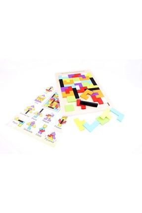 AKADEMİLOJİ Ahşap Blok Tetris Oyunu / 3