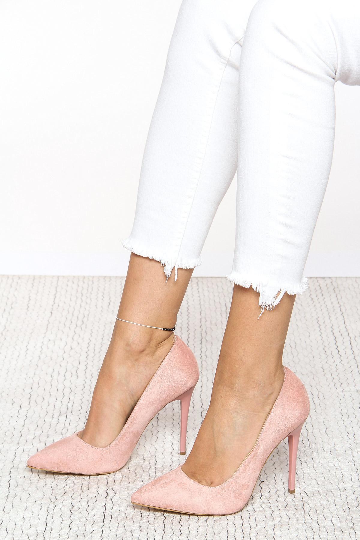 Pudra Süet Kadın Topuklu Ayakkabı 18Y 708