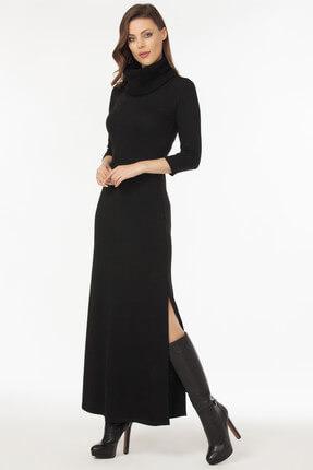 Laranor Kadın Siyah Yaka ve Yırtmaç Detaylı Triko Elbise 19L6481 0