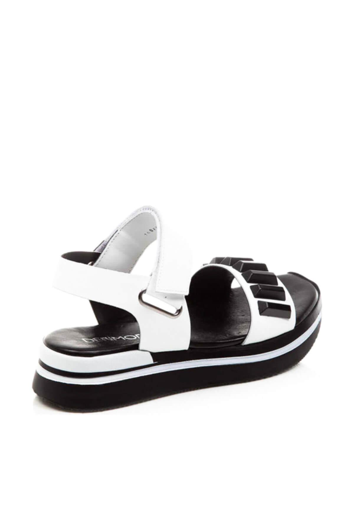 Derimod Hakiki Deri Beyaz Kadın Sandalet
