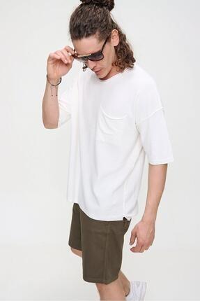 CHUBA Erkek Ekru Bisiklet Yaka Oversize Cep ve Daralan Kesim Detaylı,Pamuklu Triko T-shirt 3