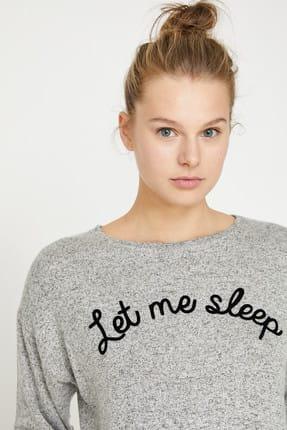Koton Kadın Gri Yazılı Baskılı Pijama Üstü 9KLK73132MK 1