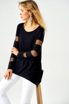 Boutiquen Kadın Siyah Kolları ve Sırtı Tül Detaylı Tunik 10021 10021 1
