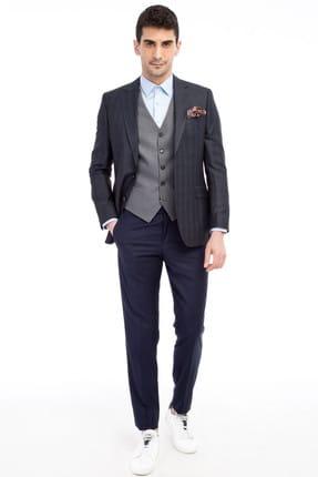 Erkek Lacivert Kareli Takım Elbise - 69712