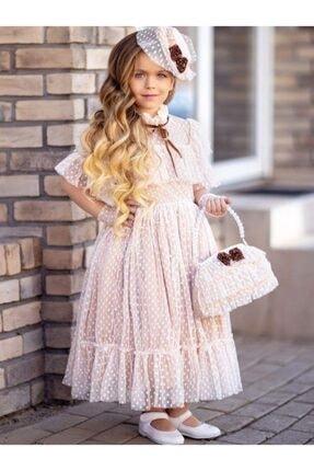 Riccotarz Kız Çocuk Noble Beaute Şapkalı Krem Elbise 1