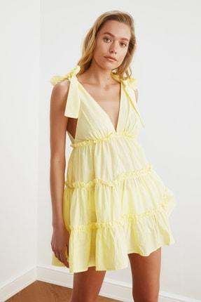 TRENDYOLMİLLA Sarı Bağlama Detaylı Plaj Elbisesi TBESS21EL3270 3