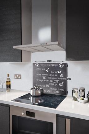 Decorita Mutfak Kuralları - Kara Tahta Görünümlü   Cam Ocak Arkası Koruyucu   52cm X 60cm 2