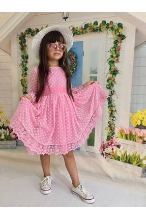 Buse&Eylül Bebe Pembe Şapkalı Tüllü Güpür Detaylı Kız Çocuk Elbisesi 0