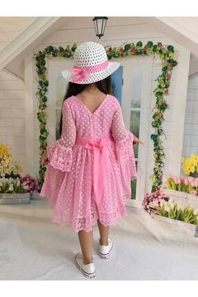 Buse&Eylül Bebe Pembe Şapkalı Tüllü Güpür Detaylı Kız Çocuk Elbisesi 1