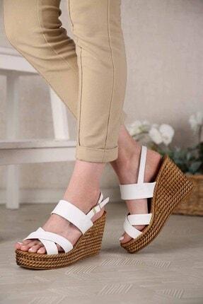 Ccway Kadın Beyaz Cilt Çapraz Bantlı Dolgu Topuklu Sandalet 1