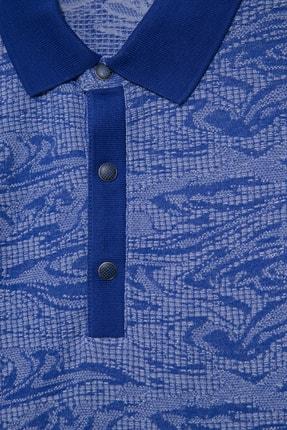 Halifaks Erkek Lacivert Polo Yaka Desenli Pamuklu T-shirt 1