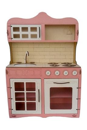 ALFAGAMA Mini Ahşap Çocuk Oyun Mutfağı Tezgah Dolap Seti Evcilik Oyunu Oyuncak Pembe Mutfak 65 cm 4