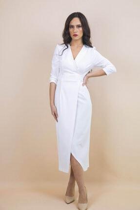 Ayhan Kadın Beyaz Kruvaze Bağlamalı Elbise 0