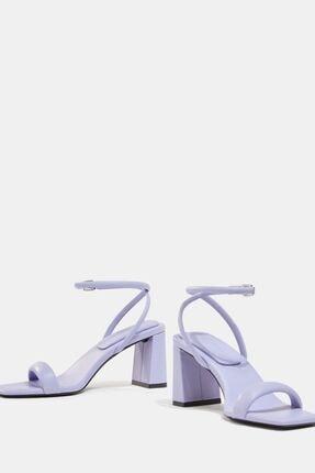 Bershka Kadın Mor Dolgulu Bantlı Topuklu Sandalet 0