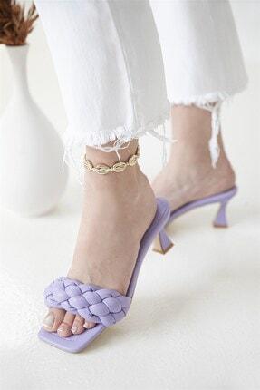 Straswans Kadın Topuklu Küt Burun Deri Sandalet Lila 0